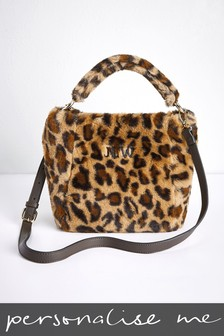 Personalised Leopard Faux Fur Bag