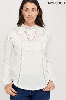 Monsoon Ladies Cream Vicky Victoriana Woven Front Top