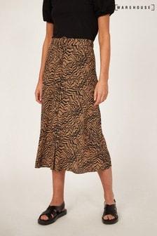 Warehouse Black Razorlight Print Midi Skirt