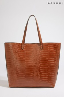 Warehouse Tan Faux Crocodile Shopper Bag