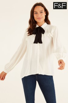 F&F Contrast Ivory Tie Blouse