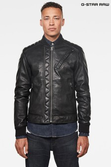 G Star Black Moto Leather Jacket