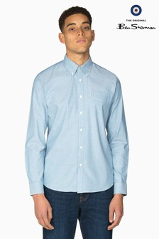 Ben Sherman Main Line Blue Oxford Polka Dot Shirt