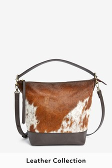 Leather Cow Hide Hobo Bag