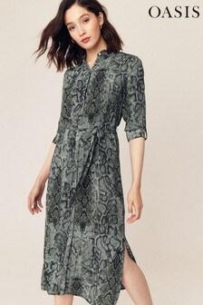 Oasis Grey Snake Print Shirt Dress