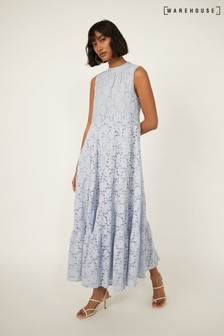 Warehouse Blue Lace Tiered Dress
