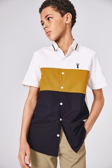 Short Sleeve Colourblock Oxford Shirt (3-16yrs)