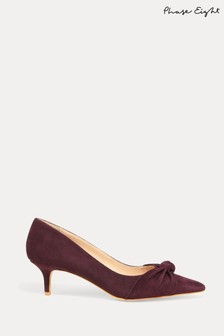 Phase Eight Burgundy Carrie Knot Front Kitten Heel Courts