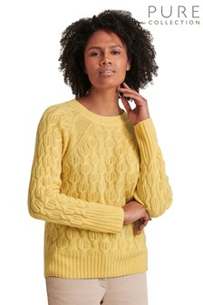 Pure Collection Yellow Cashmere Lofty Cable Sweater