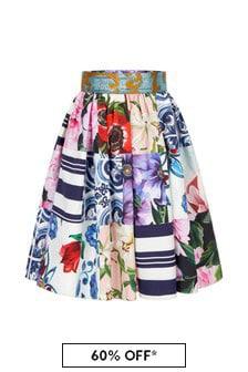 Dolce & Gabbana Kids Girls Multicoloured Cotton Skirt