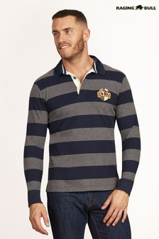 Raging Bull Grey Long Sleeve Hooped Rugby Top