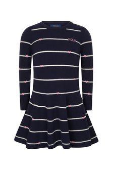 Girls Navy Striped Merino Wool Dress