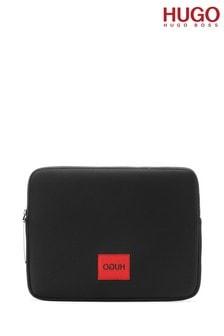 HUGO Black Record Logo Label Laptop Bag