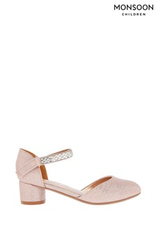 Monsoon Rose Gold Diamanté Trim Two Part Heels
