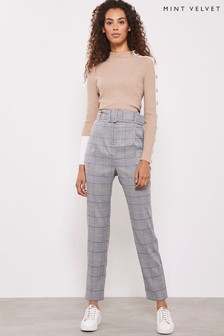 Mint Velvet Grey Belted Check Tapered Trousers