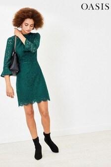 Oasis Green Lace Shift Dress