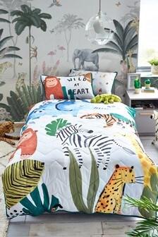 Grey Jungle Animals 3 Tog All Seasons Duvet Cover and Pillowcase Set