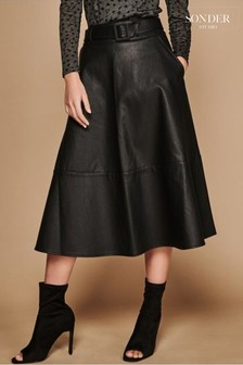 Sonder Black Seam Detail PU Midi Skirt