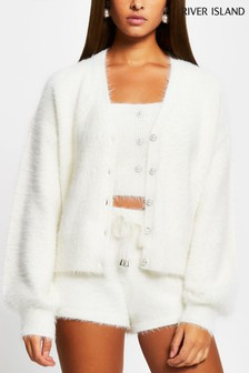 River Island White Fluff Cardigan Set