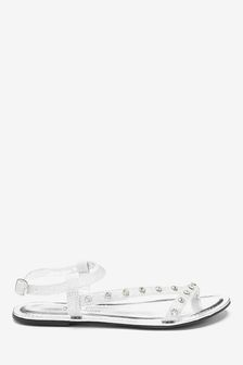 Forever Comfort® Jewelled Asymmetric Sandals
