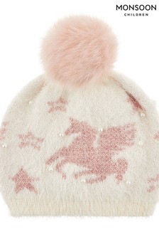 Monsoon Luna Unicorn Fluffy Jacquard Bobble Hat