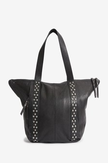 Leather Studded Casual Shopper Bag