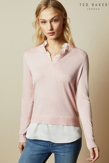 Ted Baker Ilinaa V-Neck Mock Layer Jumper And Blouse