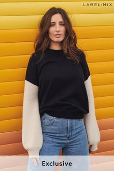 Mix/Laura Jackson Contrast Sleeve Jumper