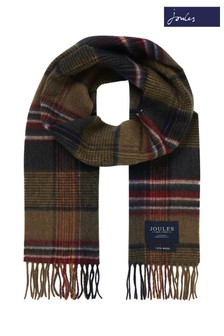 Joules Green Tytherton Wool Checked Scarf