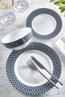 12 Piece Navy Hamilton Dinner Set