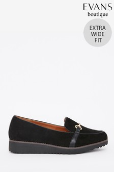 Evans Extra Wide Fit Black Bar Trim Loafers