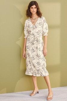 Wrap Linen Blend Dress