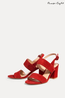 Phase Eight Red Faye Block Heels