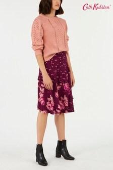 Cath Kidston Purple Wimbourne Ditsy Print Mix Trim Skirt