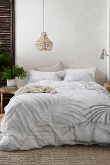 White 200 Thread Count 100% Cotton Palm Shadow Duvet Cover and Pillowcase Set