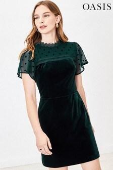 Oasis Green Velvet Mini Dress