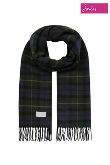 Joules Blue Bracken Check Woven Scarf