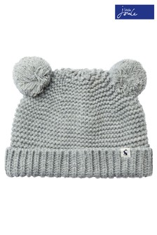 Joules Grey Pom Pom Knitted Hat