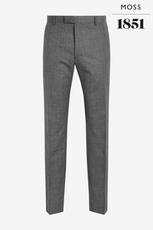 Moss 1851 Tailored Fit Grey Check Trousers