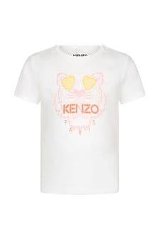 Kenzo Kids Baby Girls White Cotton T-Shirt