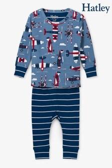 Hatley Blue Paper Planes Organic Cotton Baby Pyjama Set