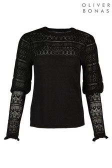 Oliver Bonas Pointelle Stitch Yoke & Sleeve Black Knitted Jumper