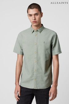 AllSaints Mint Green Huntingdon Short Sleeve Shirt