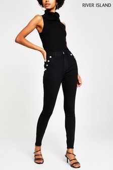River Island Wash Black Hailey Bonny Button Jeans