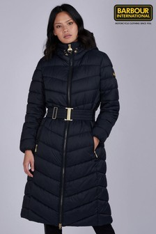 Barbour® Womens International Black & Burgundy Lineout Longline Puffer Quilted Coat
