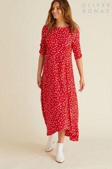 Oliver Bonas Red Ditsy Floral Dress