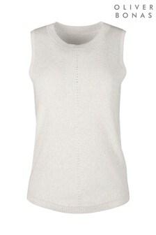 Olivar Bonas White Sparkle Knit Tank Top