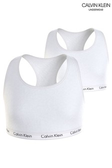 Calvin Klein White Modern Cotton 2 Pack Bralettes