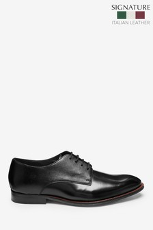 Signature Italian Leather Hi-Shine Derby Shoes
