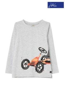 Joules Grey Action Screenprint Slim Fit Long Sleeve T-Shirt